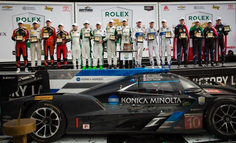 Rolex 24 At Daytona 2017 Prizegiving Ceremony From L-R: PC Class winners James French (USA), Nicholas Boulle (USA), Kyle Masson (USA) and Patricio O'Ward (MEX) from the #38 Performance Tech Motorsports GTD Class winners Daniel Morad (CAN), Michael de Quesada (USA), Carlos de Quesada (USA), Jesse Lazare (CAN) and Michael Christensen (DNK) from the #28 Alegra Motorsports GTLM Class winners Joey Hand (USA), Sebastien Bourdais (USA), Dirk Mueller (DEU) from the #66 Ford Chip Ganassi Racing Prototype Class winners Ricky Taylor (USA), Max Angelelli (MCO), Jeff Gordon (USA) and Jordan Taylor (USA) from the #10 Konica Minolta Cadillac DPi-V.R